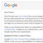 Googleからgmailにメール その内容の意味【GDPR】Dear Partner,Over the past year we've shared how